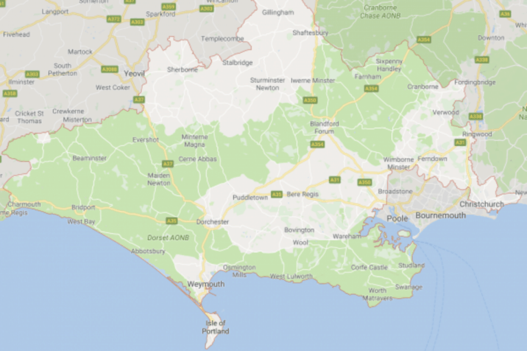 Map showing working locations in Dorset