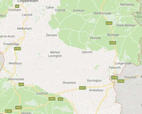 Map showing service areas in Wiltshire